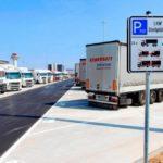 Парковка грузовых автомобилей в населёном пункте